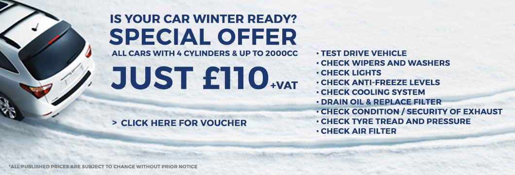Winter Car Service Special Offer Coupon Voucher for London